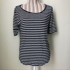 H&M Basic Striped Boatneck Top 3/4 Sleeves M